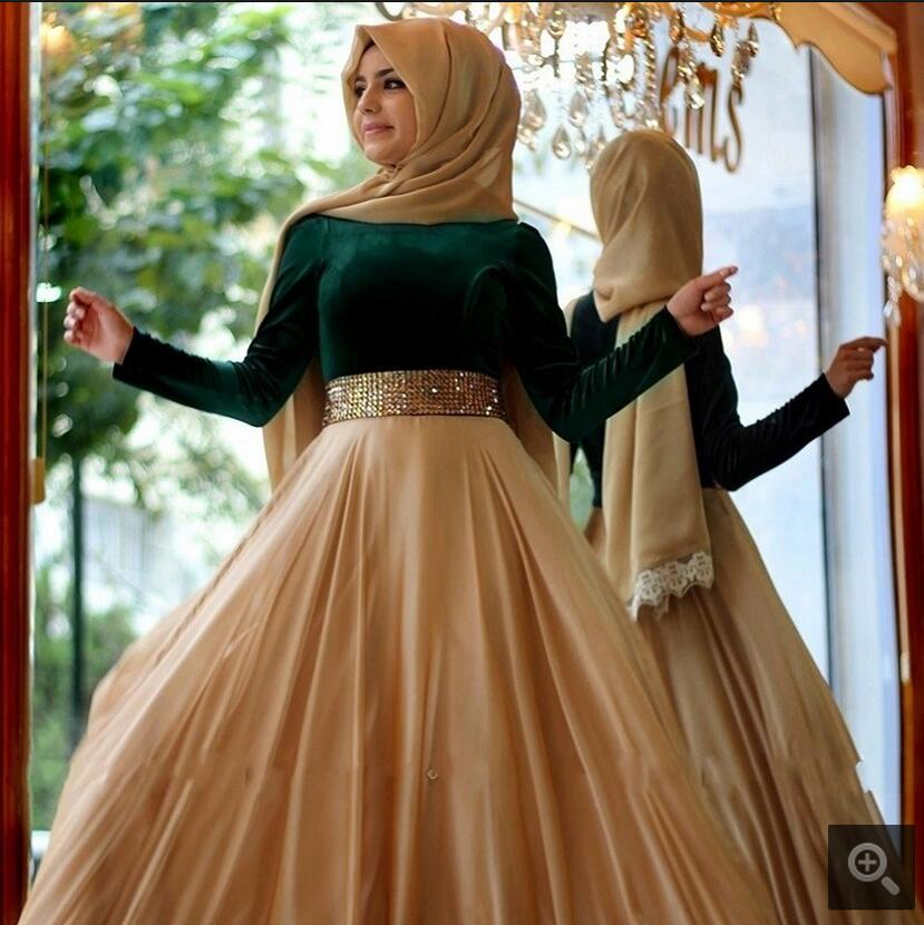 Ball Gown dark green muslim long sleeve   prom     dress   high neck dubai saudi arabia crystals   prom   gowns modest women   prom     dresses