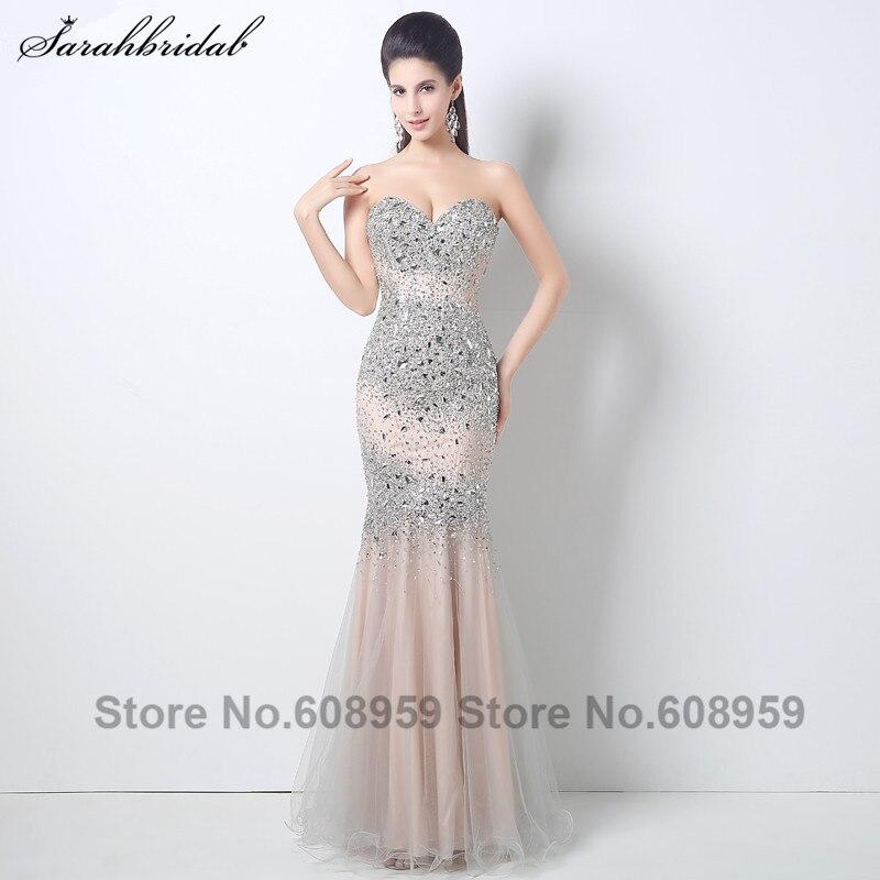 Luxury Blush Crystal Beaded Tulle Women   Evening     Dresses   Vestido De Festa longo Elegant Mermaid Floor Length Prom   Dress   HY001