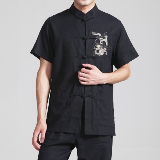 Black Chinese Men's Linen Embroidery Kung-Fu Shirt with Pocket Size S M L XL XXL XXXL Free Shipping 2999-4