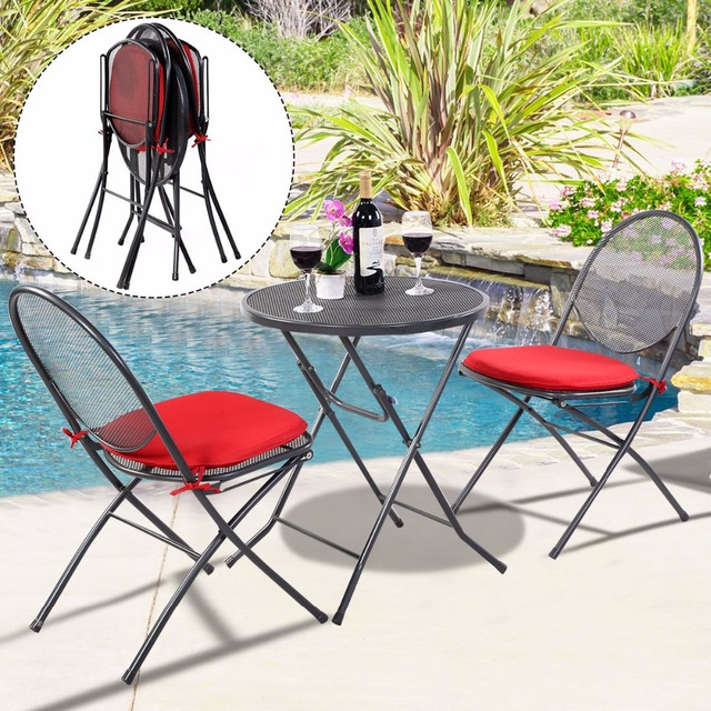 Foldable Table And Chairs Garden Chair Covers Auckland 3 Pcs Folding Steel Mesh Outdoor Patio Backyard Furniture Set Hw51792