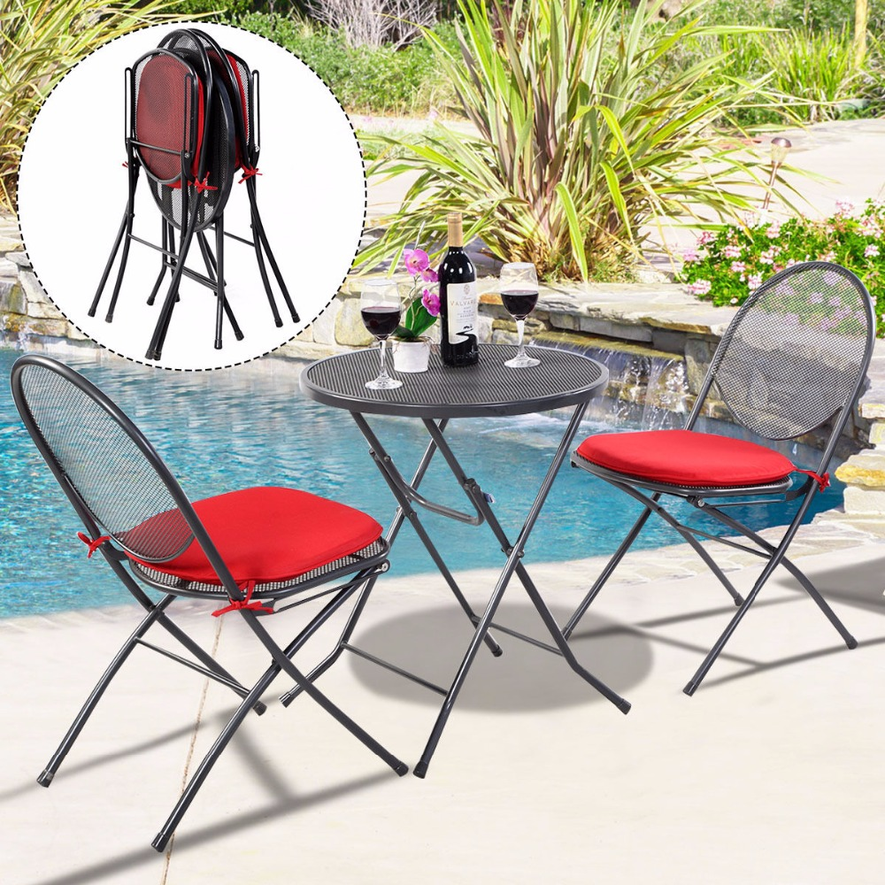 3 PCS Folding Steel Mesh Outdoor Patio Table Chair Garden Backyard Furniture  Set HW51792