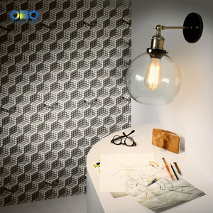 Image 5 - Retro Glass Wall Lamp  Loft Vintage Metal Triangle Oval Clear Wall Light Edison  40W  Industrial Wall Sconce