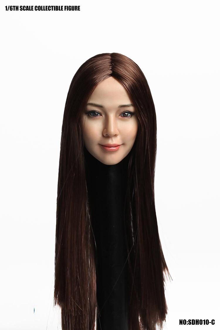 escala asiática fêmea cabeça escultura com cabelo