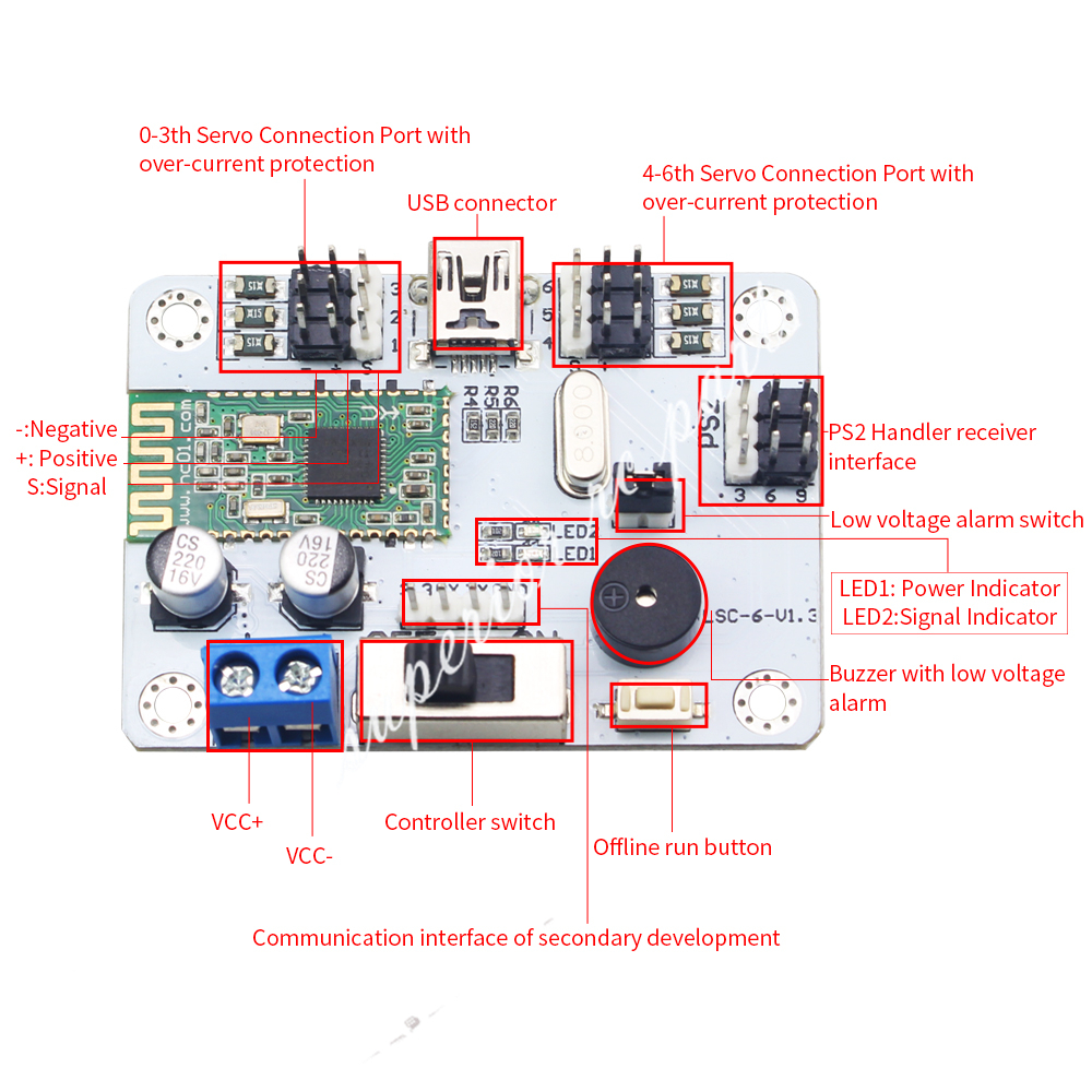 Buy 6ch Servo Controller Driver Board W Bluetooth Usb Member Robot Tutorials Tutorialsbitly 2v8c81y In User Manual Please Access It To Get Informations Wireless Handle And Mp3 Module Are Dedicated Accessories