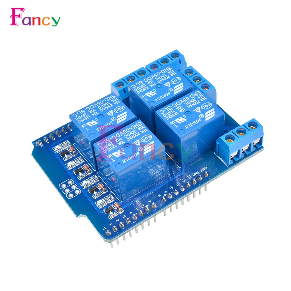 Relay Shield V2.0 4 Channel 5V Relay Swtich Expansion Drive Board for Arduino UNO R3 Development Board Module One 4 channel 5v relay module expansion board for arduino works with official arduino boards