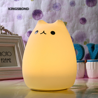 Novelty Colorful Silicone LED Night Light Animal Light USB Rechargeable RGB Cat LED Light For Childrens