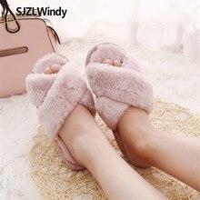 купить SJZLWINDY Winter Women shoes Home Slippers With Faux Fur Fashion Warm Shoes Woman Slip On Flats Female Slides Pink Plus Size 41 по цене 764.23 рублей