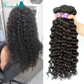 Deep Curly Weave Human Hair Extensions Deep Wave Eurasian Virgin Hair 3 Bundle Deals Natural Black Rosa Queen Hair Products