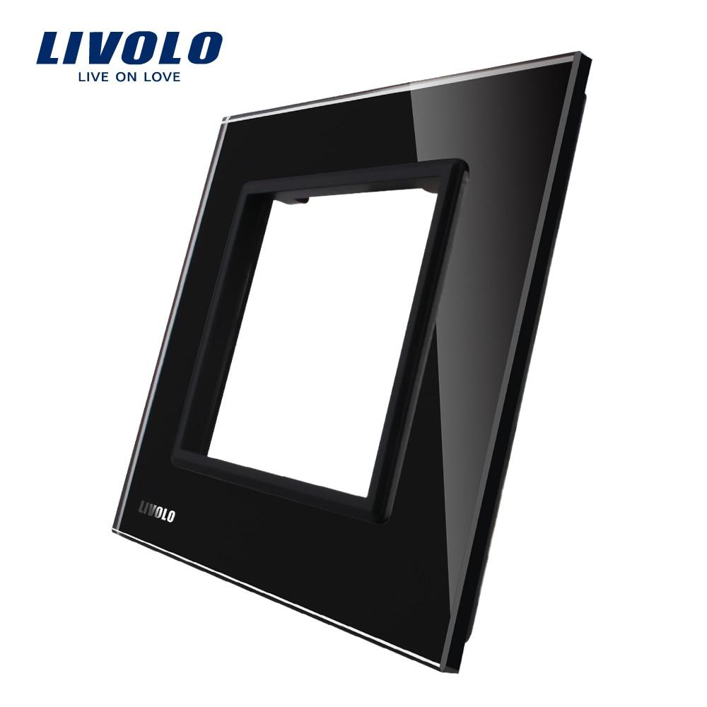 Livolo Luxury Black Pearl Crystal Glass, 80mm*80mm, EU standard DIY Part Of Switch Socket , Single Glass Panel ,VL-C7-SR-12 free shipping livolo luxury black crystal glass 223mm 80mm eu standard 1gang