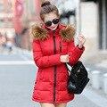 2016 novas mulheres da moda manga longa seção das mulheres de inverno casacos casaco quente das Mulheres Fino