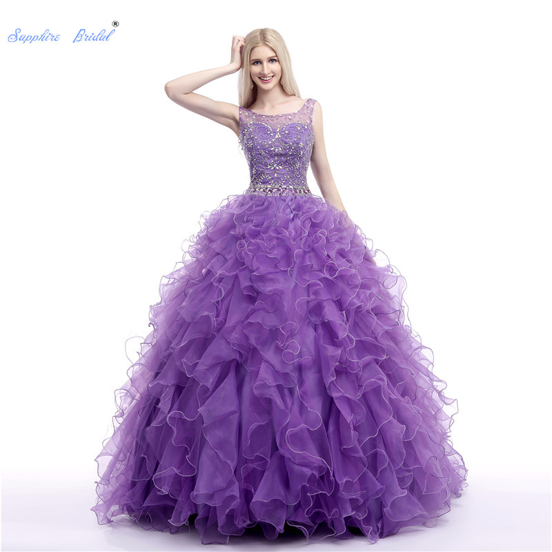 Sapphire Bridal Long Party Gowns Vestido De 15 Anos De Ball Gown Mitzvah Kleider Purple Ruffles Beading Quinceanera Dress