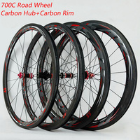PASAK 700C Carbon Fiber Wheels Road Bike Bicycle Wheel Light Carbon Road Wheelset V/C Brakes38/40/55/ clincher carbon Rim