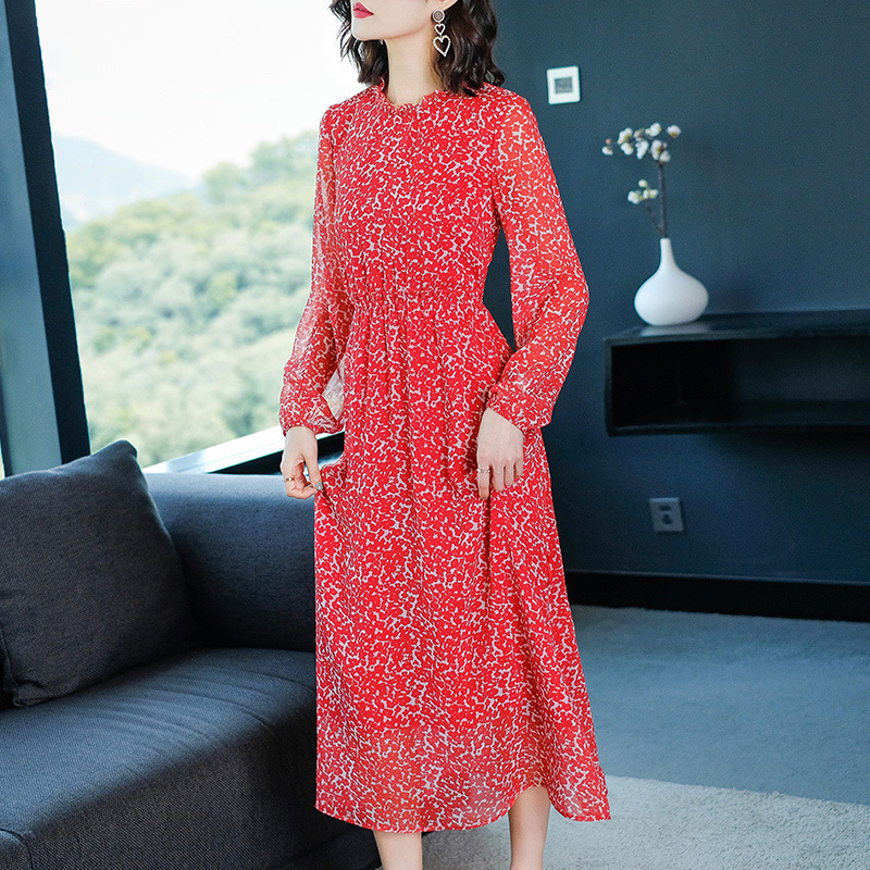Red Chiffon Print Long Sleeve Party Dress 2019 New Women Spring Office Lady Work A line Dress in Dresses from Women 39 s Clothing