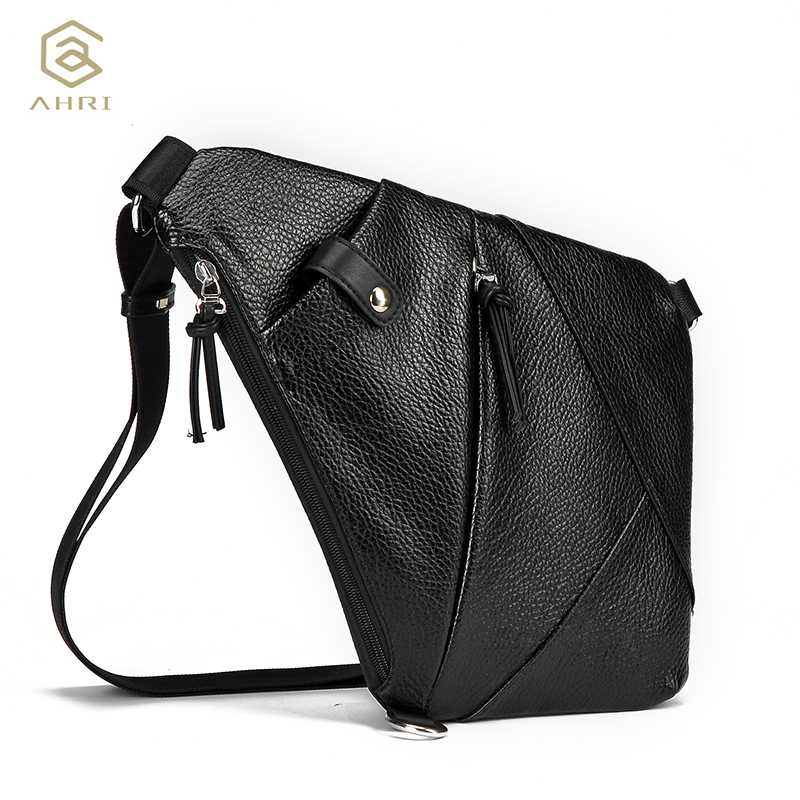 AHRI Famous Brand Male Theftproof Urban Button Open Leather Mens Chest Bags Fashion Travel Crossbody Bag Man Messenger Bags famous brand men chest bags theftproof open fashion leather travel crossbody bag man messenger bag crazy horse leather bag chest