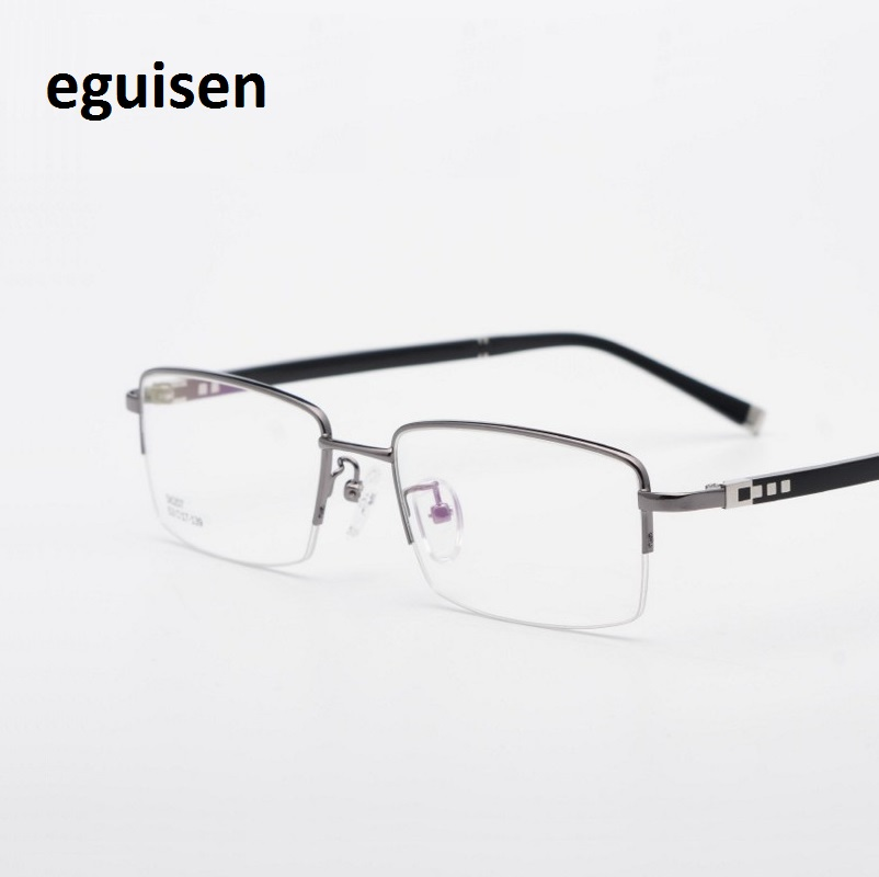 width-141 High quality mens semi rimless alloy metal half frame eyeglasses male optical spectacle oculos lentes