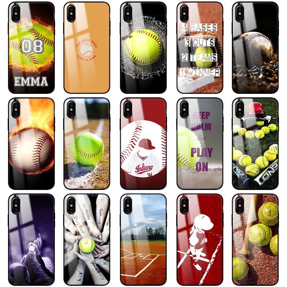 sale retailer 41dfe 4333d US $3.98 20% OFF|Fire Yellow Softball Baseball Tempered Glass Phone Cases  for Apple iPhone 6 6s 7 8 Plus X XS XR XS MAX Glass Silicone Case Cover-in  ...