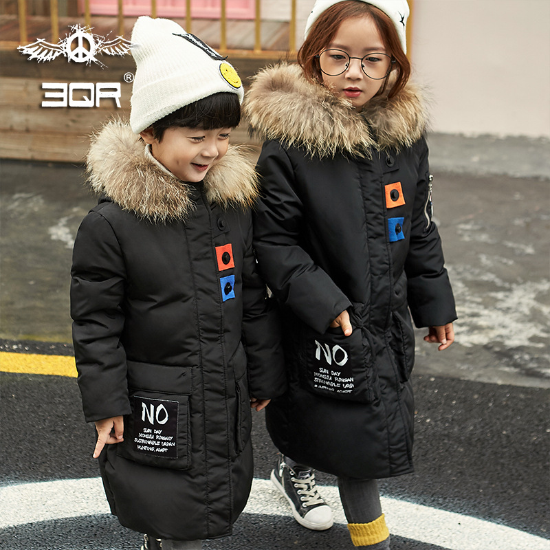 2017 Fashion Girls Winter Down Jackets Children Coats Warm Baby 100% Thick Duck Down Coats Kids Outerwear With Real Fur 2017 winter children duck down coats real fur hooded parkas mid length clothing girls baby cotton padded trech coats warm jacket