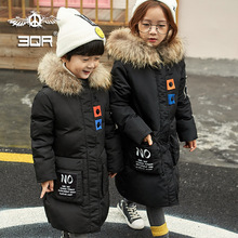 2017 Fashion Girls Winter Down Jackets Children Coats Warm Baby 100% Thick Duck Down Coats  Kids Outerwear With Real Fur