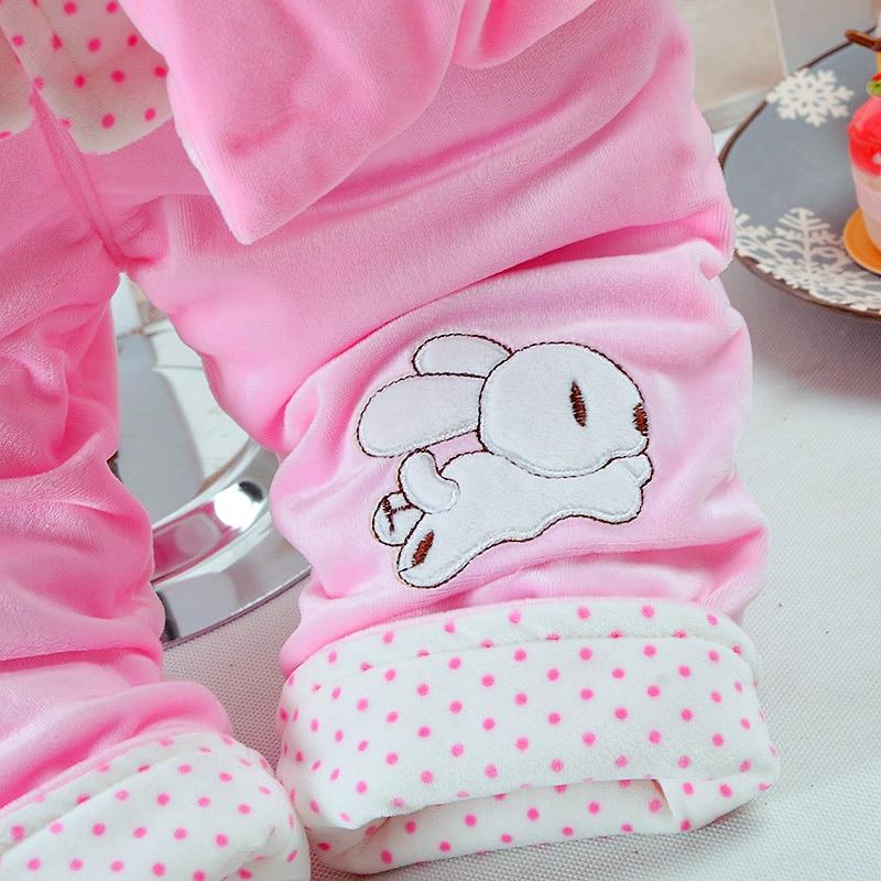 Купить с кэшбэком Autumn & Winter Baby Girl Clothes Set Pink Rabbit Style Add Cotton-Padded Thick Clothes Warm 0-2T Newborn Infant Baby 3Pcs/Set