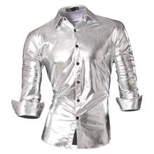 Jeansian Mens Fashion Dress Casual Shirts Button Down Long Sleeve Slim Fit Designer Z036 Silver