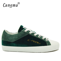 CANGMA Famous Brand Sneakers Men Genuine Leather Footwear Mans Green Casual Shoes Lace Up Flats Male