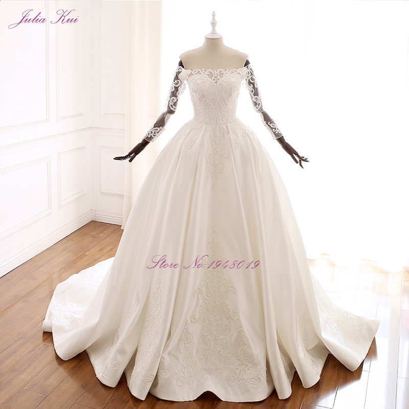 Julia Kui Elegant Strapless A Line Wedding Dress With Sleeve Crystals Bow back Of vestido de