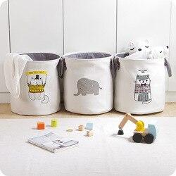High-Grade Cartoon Folding Canvas Dirty Clothes Basket Children Toy Storage Bucket Bedquilt And Magazines Storage Box Organizer