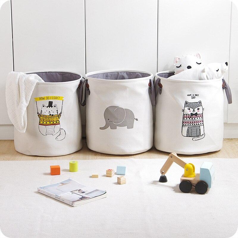 High-Grade Cartoon Folding Leinwand Schmutzige Kleidung Korb Kinder Spielzeug Lagerung Eimer Bedquilt Und Zeitschriften Lagerung Box Organizer