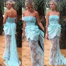 Sexy Baby Blaue Spitze Durchsichtig Prom Kleider 2017 Sexy Trägerlose Blume Abendkleider Sweep Zug Vestidos Formal Dresse