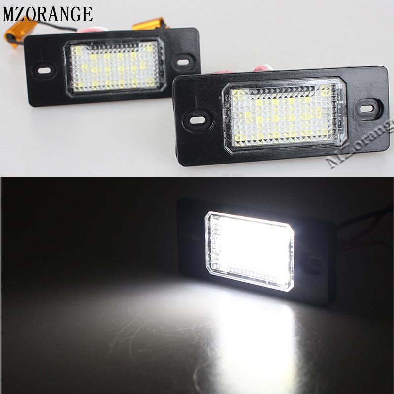 2Pcs 18 LED License Plate Lights SMD3528 Number Plate Light Lamp For Porsche Cayenne FOR VW Golf Tiguan High Brightness lpl e39 5w 140lm 7500k 24 3528 smd led white light license plate lamp for bmw e39 12v