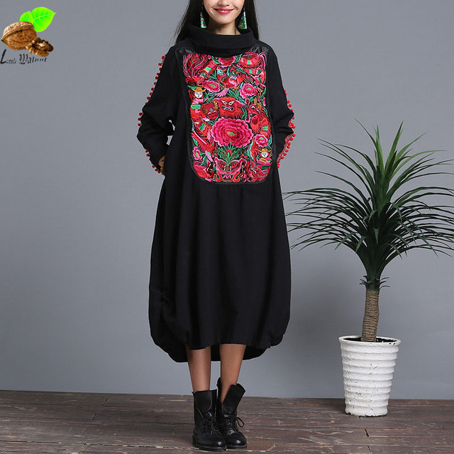 Women Autumn and Winter Turtleneck Fluid National Trend Embroidery Flower Long-Sleeve Loose Dress Mori Harajuku Vintage Dress