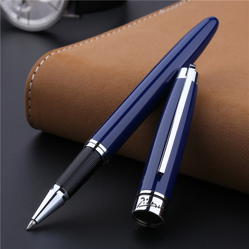 Stylo à bille roulante bleu profond Pimio stylo à bille argent Clip métal cadeau stylos à bille pour hommes avec coffret cadeau Original stylos de bureau