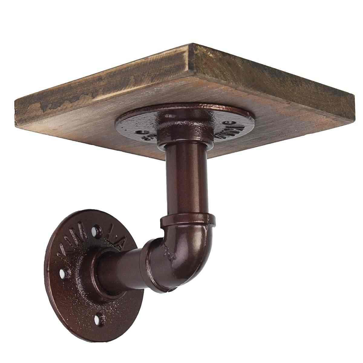 Промышленный ретро из дерева в деревенском стиле и соединительная часть железной трубы фланец деревянный держатель для телефона решетка-держатель Полка украшение дома