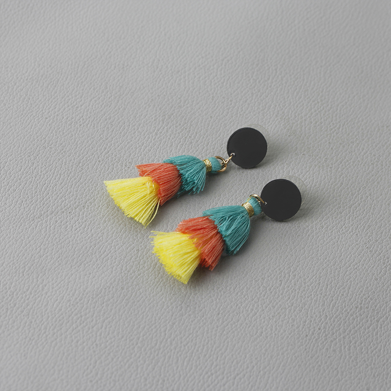 Multilayer Ethnic Earrings for woman handmade tassel earring cute tassel 3 colors earing for kinds three layers ear wear jewelry in Drop Earrings from Jewelry Accessories