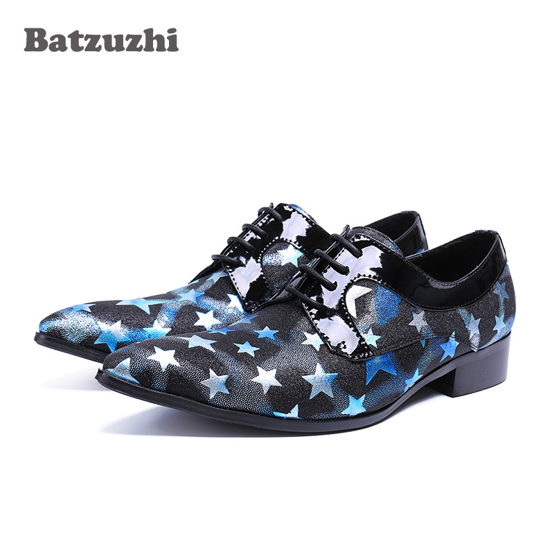 Handmade Dress Shoes Men Pointed Toe Black Blue Genuine Leather Shoes Men with Stars Lace-up Party, Runway Business Shoes Men pjcmg new fashion black red brown handmade genuine leather lace up pointed toe business dress men oxford office shoes