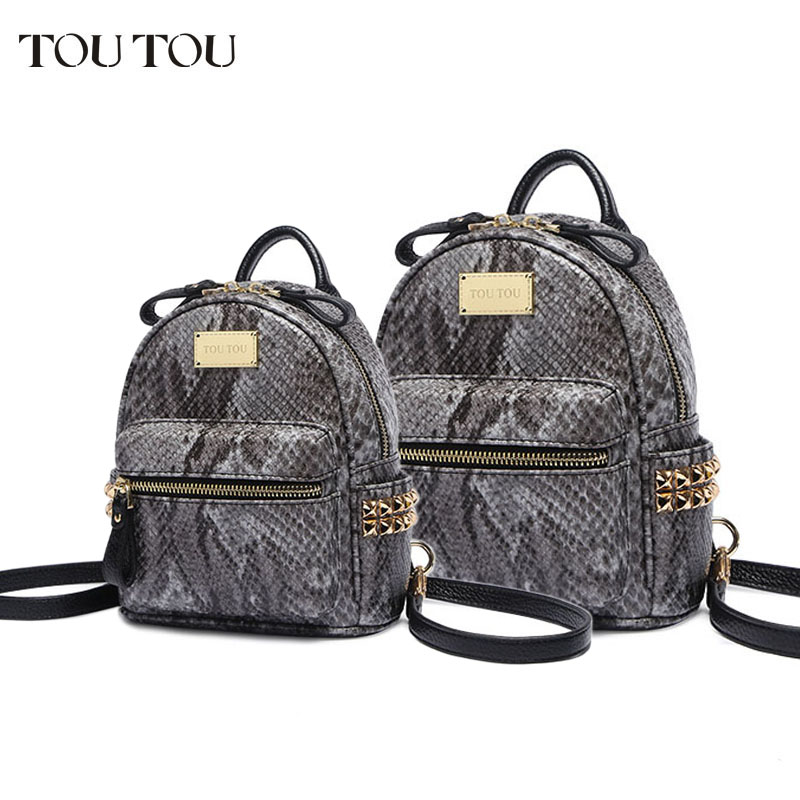 e05a742b27c 2018 New Snake PU Leather Women Backpack Female Fashion Rucksack Brand  Designer Ladies Back Bag High ...