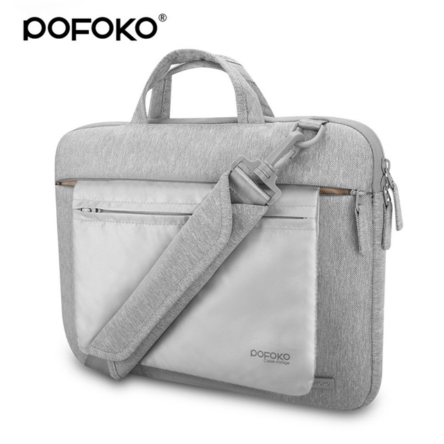 de5f866372 POFOKO high end waterproof laptop bag case for macbook Pro 13 inch 11 15.6  inch laptop messenger briefcase with luggage belt