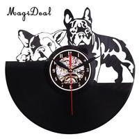 Black Classic Old Record Cartoon Dogs Themed Wall Clock Antique Retro CD Vinyl Clocks Quartz Clocks