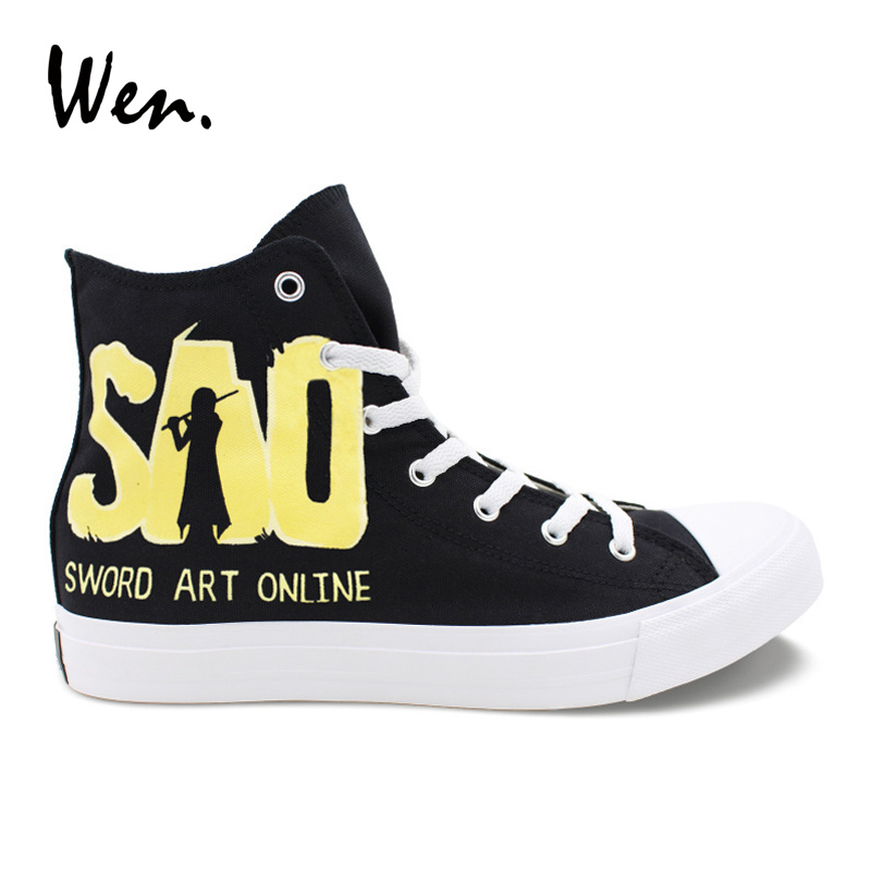 Wen Design Custom Hand Painted Anime Shoes Sword Art Online Mens Canvas Sneakers Black High Top Womens Laced Athletic Shoes wen design custom astronaut outer space moon galaxy hand painted black canvas sneakers high top adults unisex athletic shoes