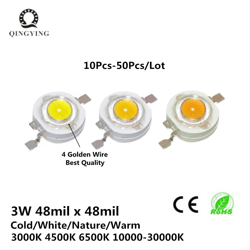 Full Watt 3W High Power LED Epistar Chip 260-280LM Cold Nature Warm White 3000K 4500K 6500K Light Source For Spotlight Blub цены