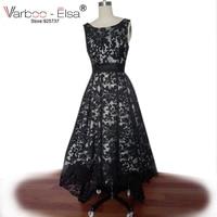 Designer Black Lace Alto basso maniche Arabo Abiti Da Sera 2017 Bicchierino Anteriore Posteriore Lungo Abiti Da Festa Dubai Arabo Dress reale