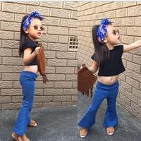 2016 Spring Baby Girls Newest Fashion Wed Leg Denim Pants Vintage Flared Pants Cool Baby Kids