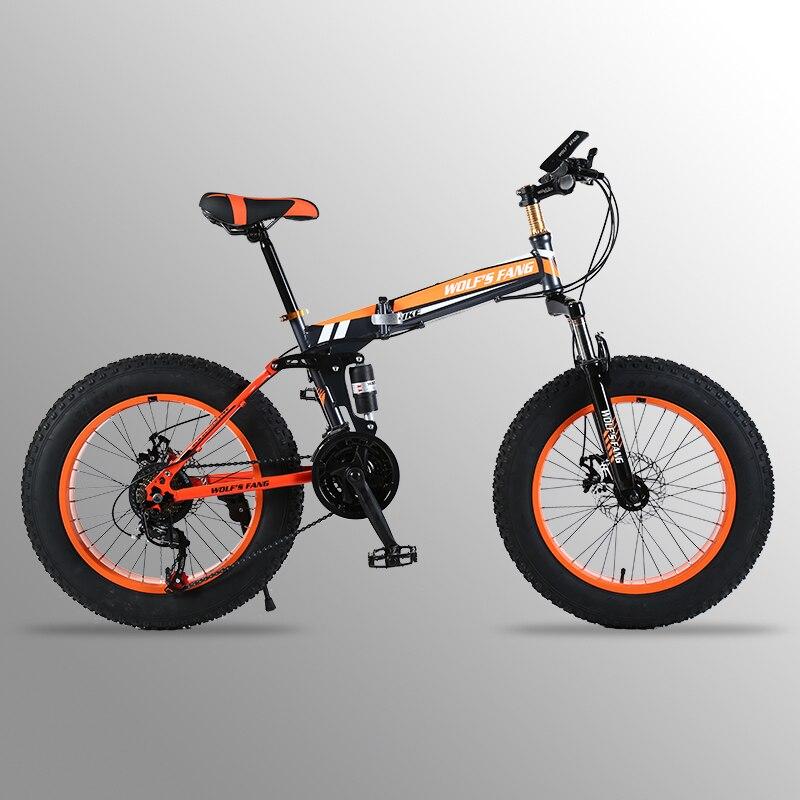 Montagne Vélo 20 x 4.0 Vélo Pliant 21 vitesse vélo de route graisse vélo à vitesse variable vélo Avant et Arrière frein À Disque mécanique