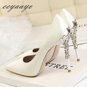 Image 4 - Sapato feminino de salto alto fino ponta fina, sapato sensual de casamento para mulheres, branco, primavera/outono, 2019 saltos altos