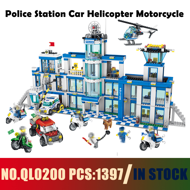 Models building QL0200 1397PCS Police Station Car Helicopter Motorcycle Building Blocks Compatible with lego City toys & hobbies