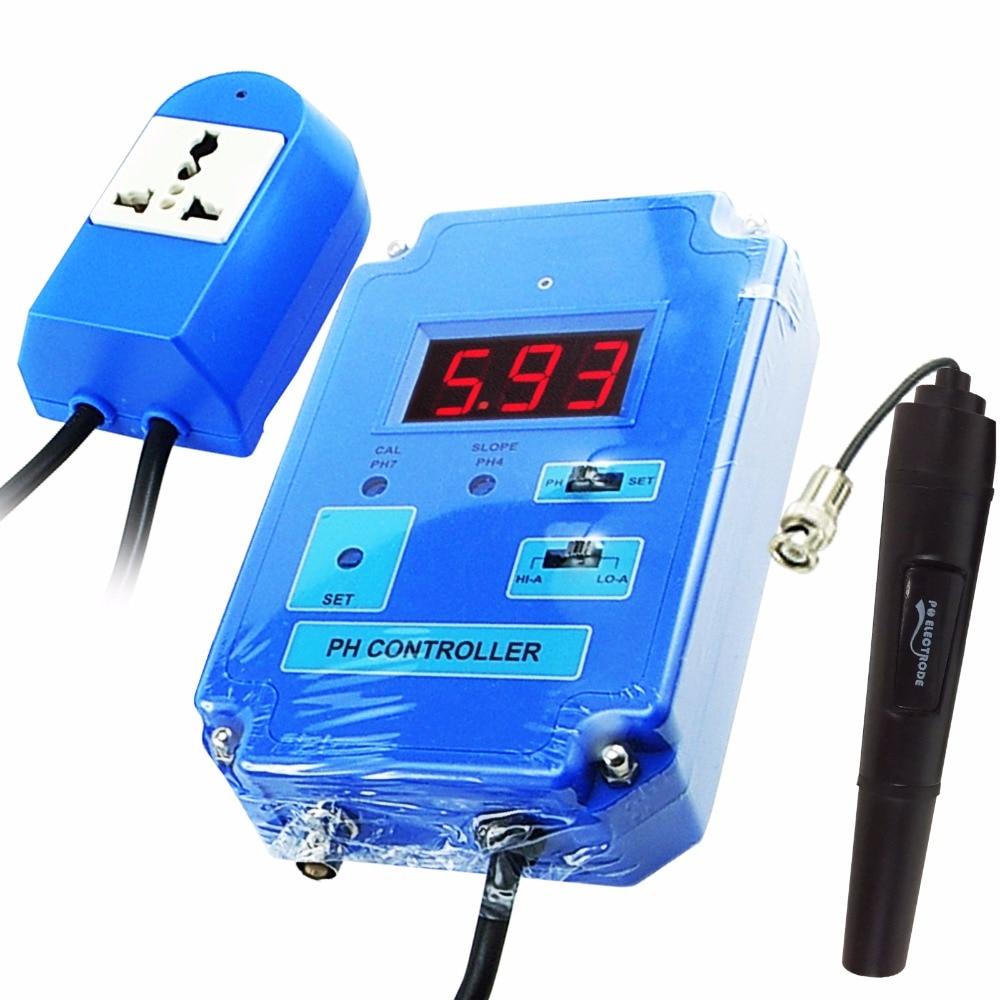 Digitale Regolatore di pH del Tester del tester con Opzionale HI/LO di Azione 0.00 ~ Gamma di 14.00pH Sostituibile BNC Elettrodo CO2 Soluzione