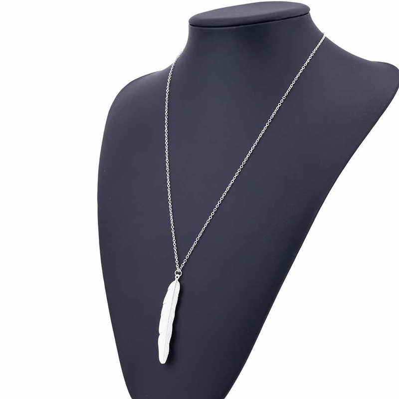 1pcs Lolede Fashion Womens Vintage Long Necklace Jewelry Silver Gold Simple Feather Pendant Necklaces Colar Jewelry Gifts HY05Q