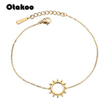 Otakoo Simple Friendship Sun Charm Bracelets Stainless Steel Adjustable Sunflower Bracelets Jewelry Pulseras Para Las Mujeres cheap Unisex Metal Link Chain geometric Other Classic LOBSTER Fashion OTWMBRS318KO None