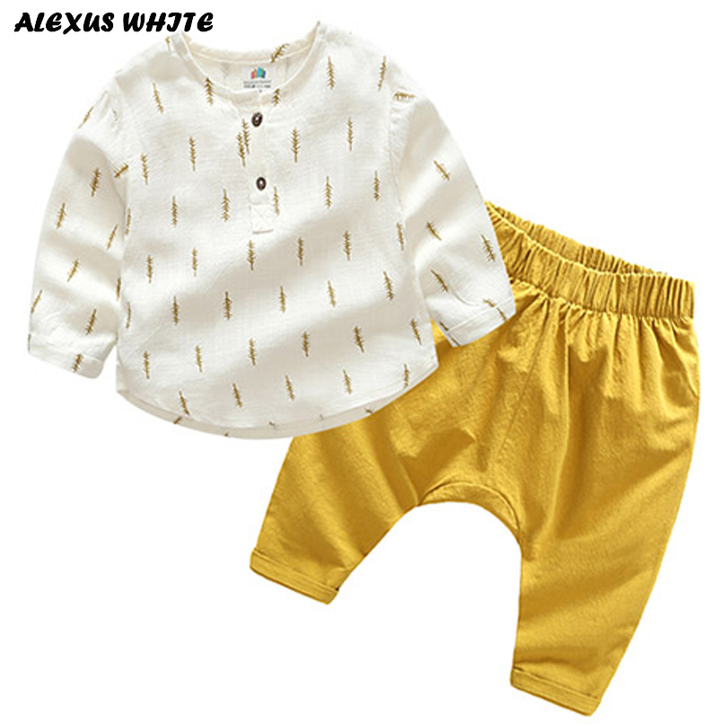 2018 Children Clothes Sets Cotton Linen Boy Girl Summer Spring Fall T Shirt Pants 2pcs Baby Suit Toddler Kids Bobo Bebe Toddler 2017 brand spring children s boy and girlsclothing sets kids tiger printed two pieces suits cotton toddler outerwear coustme