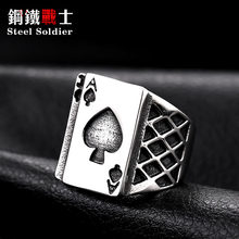 steel soldier chunky spade poker letter A stainless steel men ring fashion enamel finger titanium steel jewelry as gift(China)